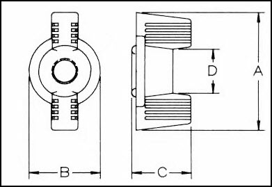 Nylon Locking Deco Wing Nuts Diagrammatic