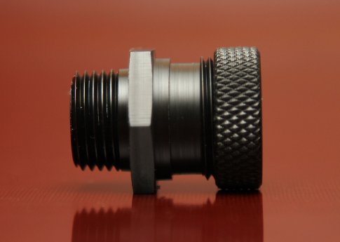 CNC Turned Black Nylon Connector used in underground cabling for the lighting industry.