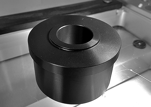 This Dry Hub our of Virgin Black UHMW was machined on one of our 7 CNC turning centers. UHMW is a great wear resistant material.